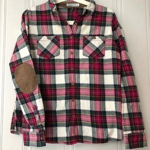 🆕Women Pink Plaid Flannel Button Up Classic Shirt